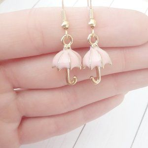 3D Blush Pink Umbrella Earrings